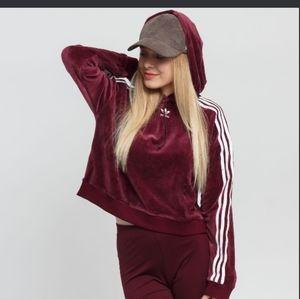 Adidas® Originals Maroon Velour Cropped Hoodie Sweatshirt size small